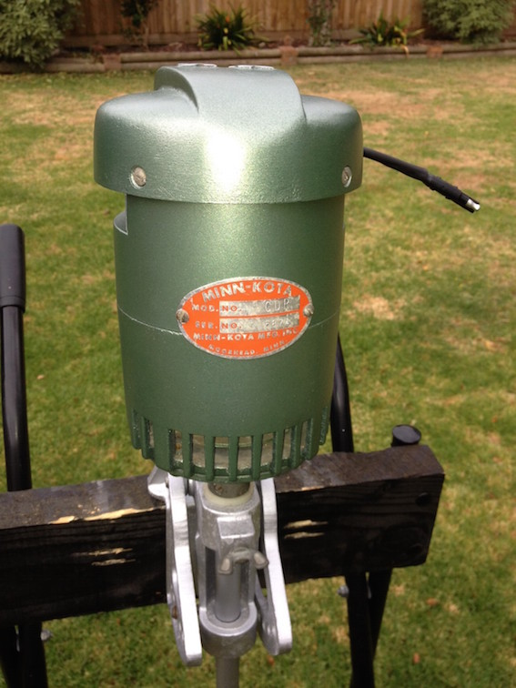 A 1965 Minn Kota CDR trolling motor that was restored by Shaun Clancy. It has three forward speeds and one reverse and is still running great