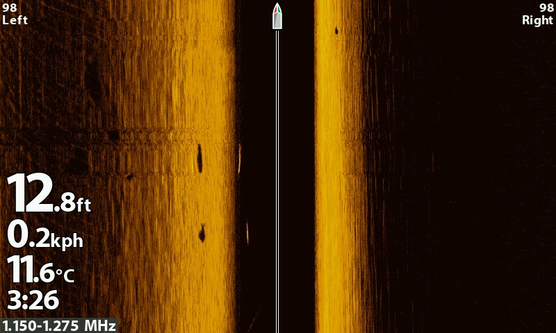 D2. A Side Imaging shot from the Humminbird Helix from the start of the trip. Water is 11 degrees and the fish are sitting slightly wider.