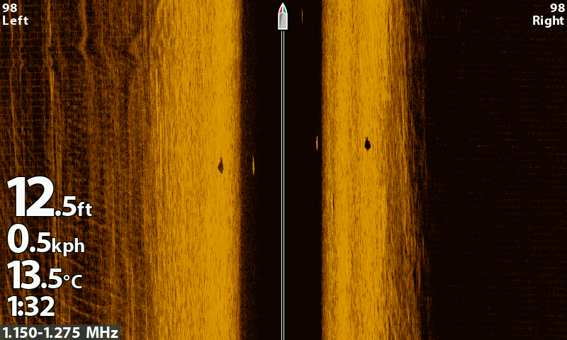 A second Side Imaging shot from the Humminbird Helix from the end of the trip. With the water now 13.5 degrees the fish started moving closer to the bank